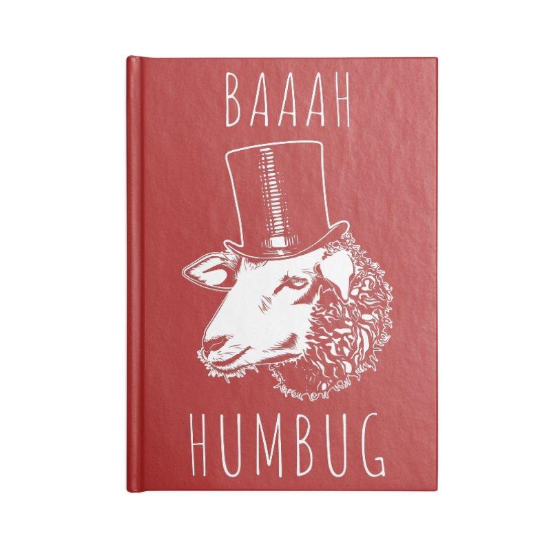 Baaah Humbug Grumpy Holiday Sheep Accessories Blank Journal Notebook by Wasabi Snake