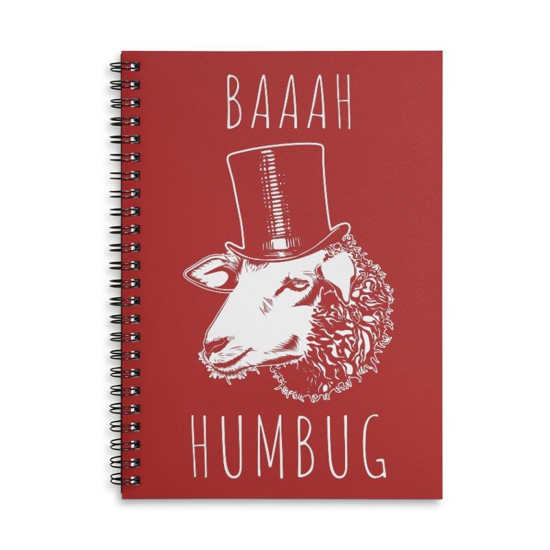 Baaah Humbug Grumpy Holiday Sheep Accessories Lined Spiral Notebook by Wasabi Snake