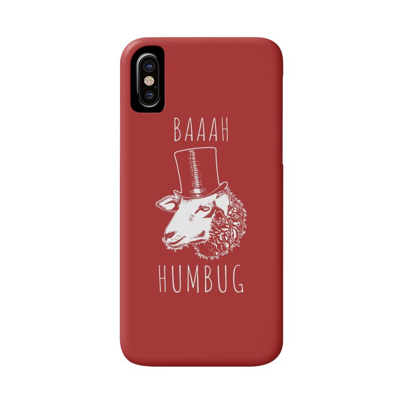Baaah Humbug Grumpy Holiday Sheep Accessories Phone Case by Wasabi Snake
