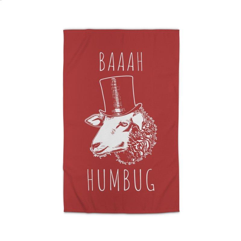Baaah Humbug Grumpy Holiday Sheep Home Rug by Wasabi Snake