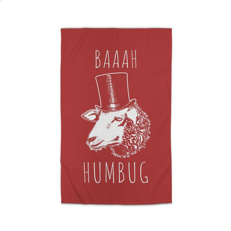 Baaah Humbug Grumpy Holiday Sheep Home Rug by Wasabi Snake