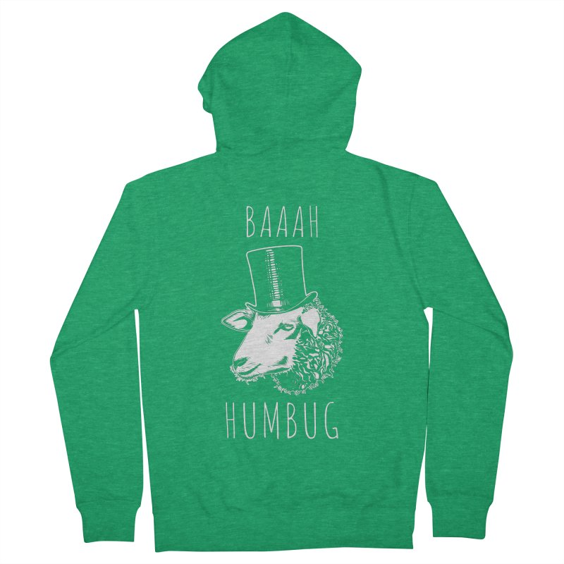 Baaah Humbug Grumpy Holiday Sheep Men's French Terry Zip-Up Hoody by Wasabi Snake
