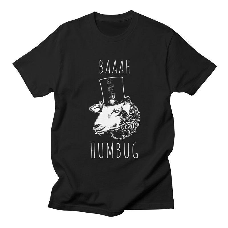 Baaah Humbug Grumpy Holiday Sheep Men's Regular T-Shirt by Wasabi Snake