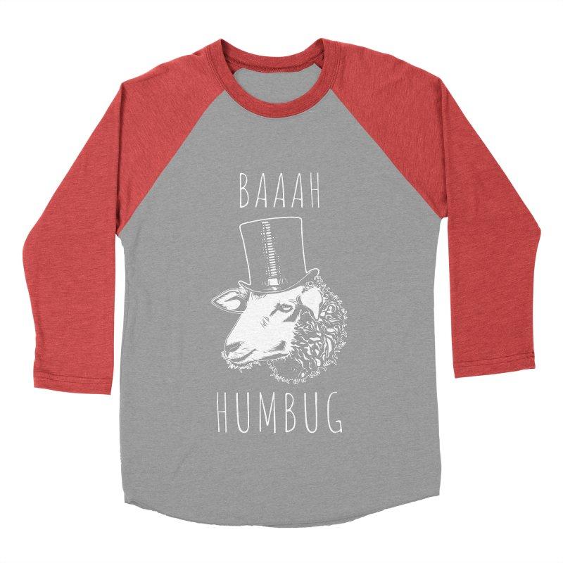 Baaah Humbug Grumpy Holiday Sheep Men's Baseball Triblend Longsleeve T-Shirt by Wasabi Snake