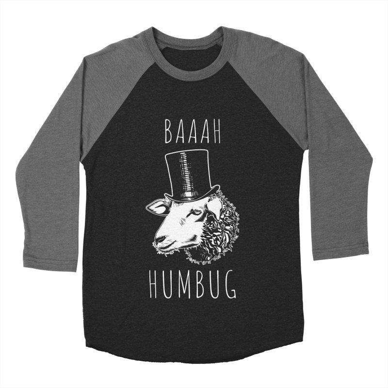 Baaah Humbug Grumpy Holiday Sheep Men's Baseball Triblend T-Shirt by Pete Styles' Artist Shop