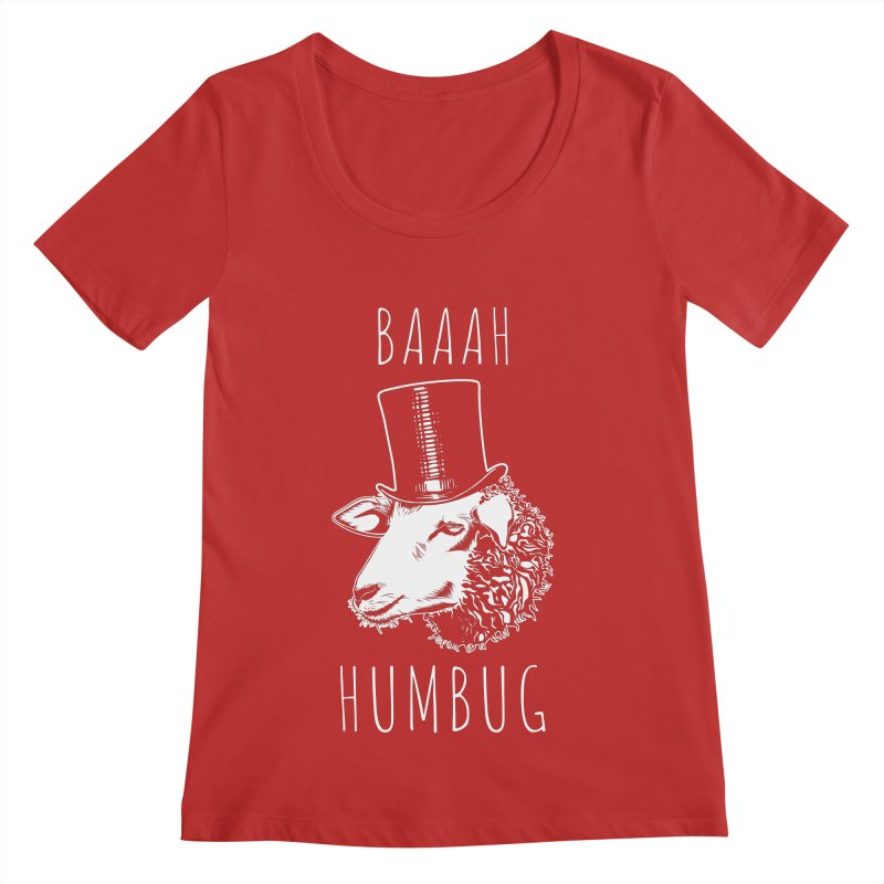 Baaah Humbug Grumpy Holiday Sheep Women's Scoop Neck by Wasabi Snake