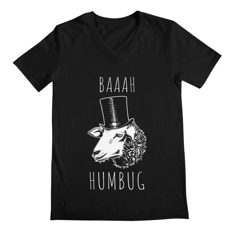 Baaah Humbug Grumpy Holiday Sheep Men's V-Neck by Pete Styles' Artist Shop