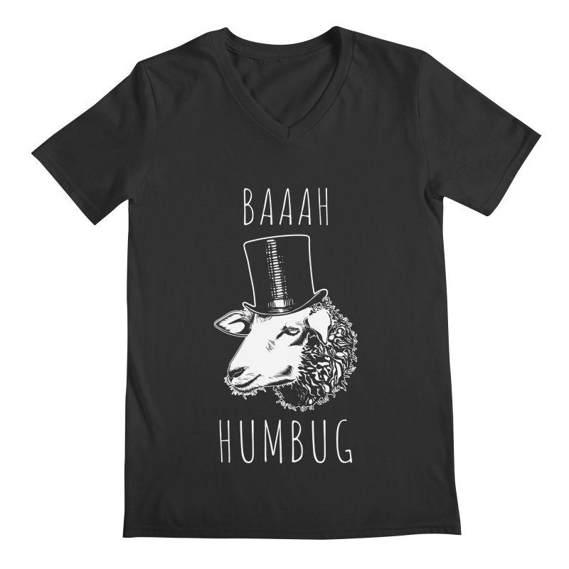 Baaah Humbug Grumpy Holiday Sheep Men's Regular V-Neck by Wasabi Snake