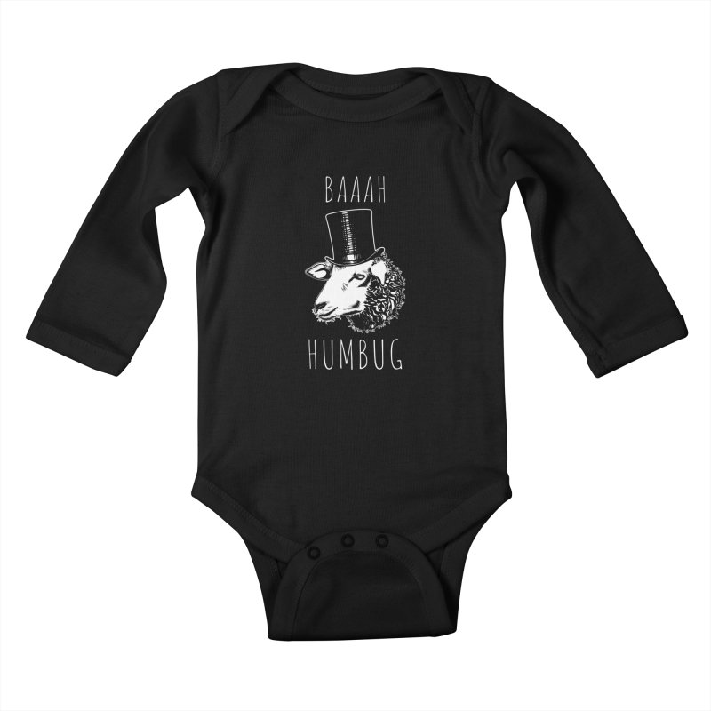 Baaah Humbug Grumpy Holiday Sheep Kids Baby Longsleeve Bodysuit by Wasabi Snake