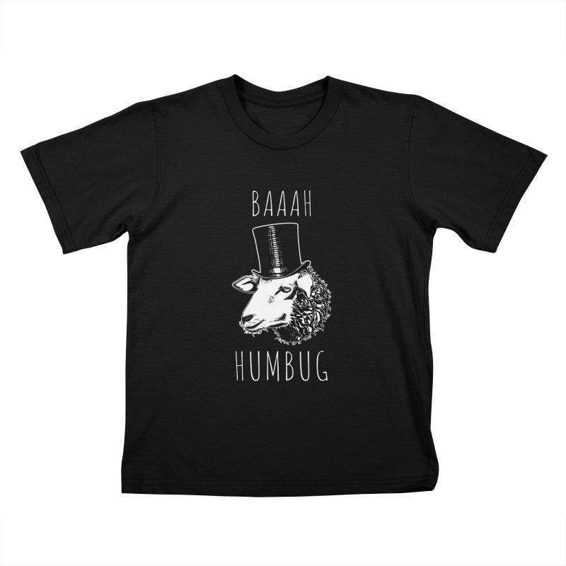 Baaah Humbug Grumpy Holiday Sheep Kids T-Shirt by Wasabi Snake