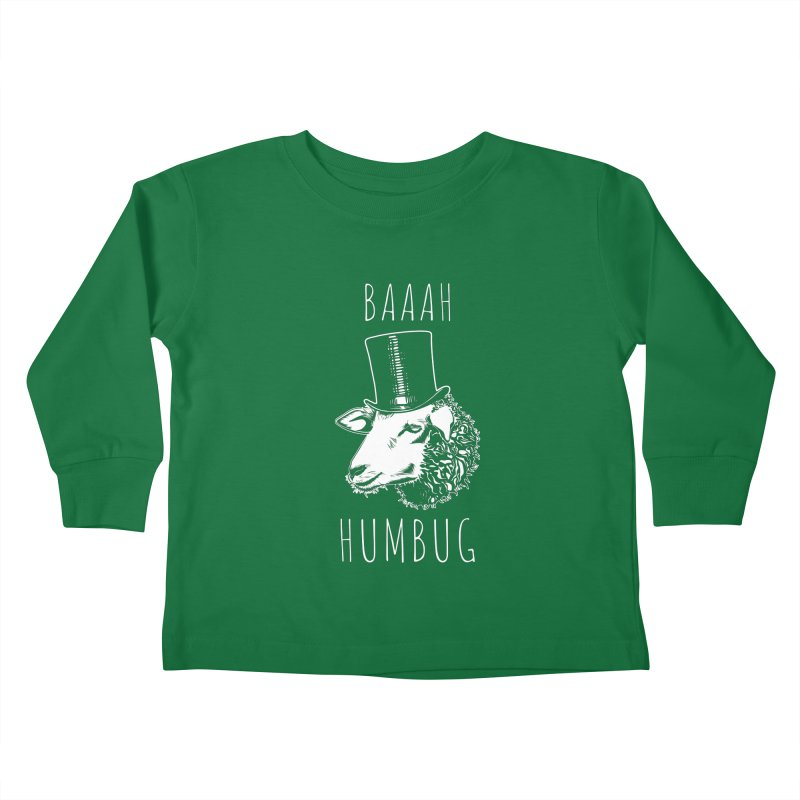 Baaah Humbug Grumpy Holiday Sheep Kids Toddler Longsleeve T-Shirt by Wasabi Snake