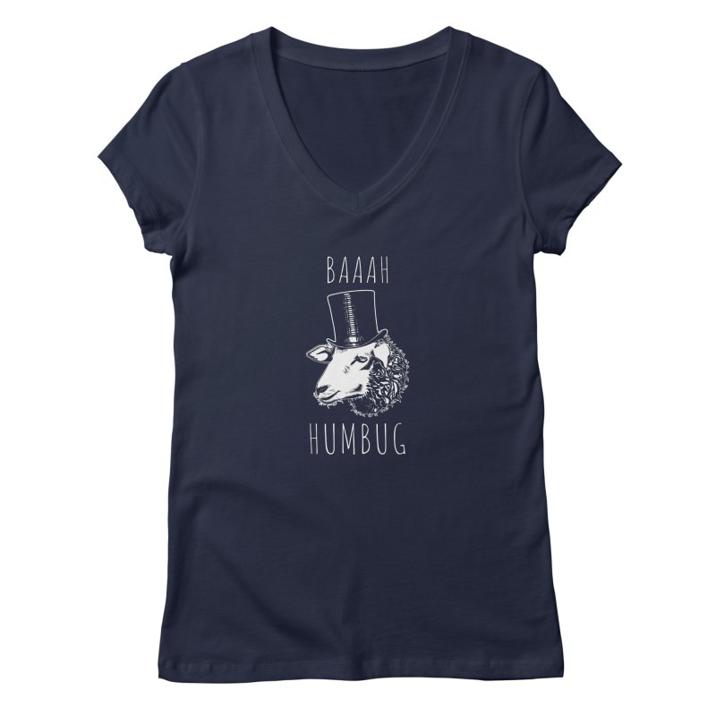 Baaah Humbug Grumpy Holiday Sheep Women's Regular V-Neck by Wasabi Snake