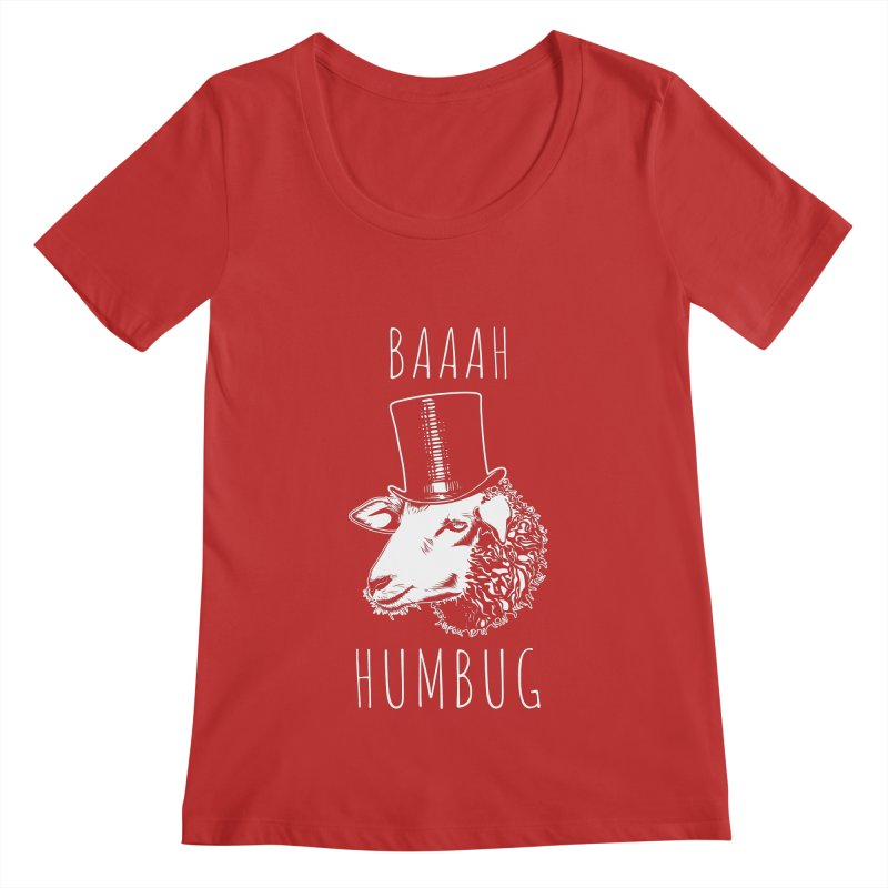Baaah Humbug Grumpy Holiday Sheep Women's Regular Scoop Neck by Wasabi Snake