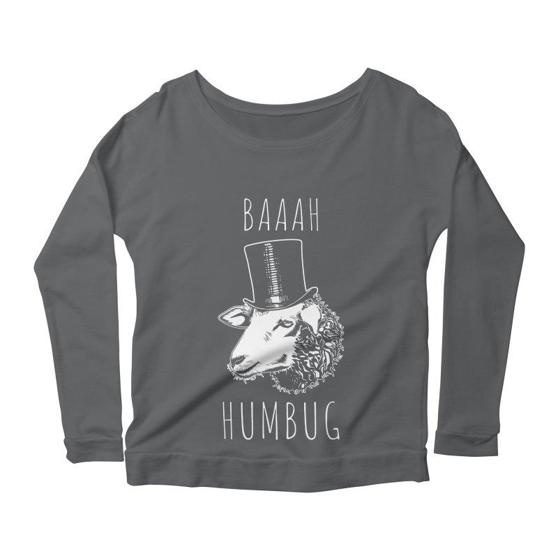 Baaah Humbug Grumpy Holiday Sheep Women's Scoop Neck Longsleeve T-Shirt by Wasabi Snake