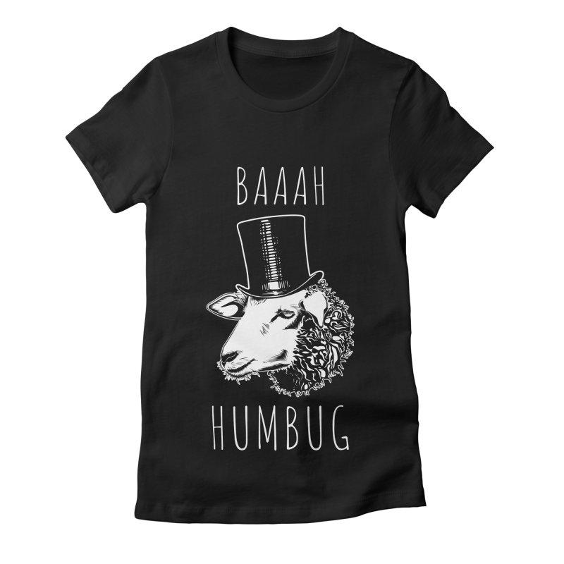 Baaah Humbug Grumpy Holiday Sheep Women's Fitted T-Shirt by Wasabi Snake