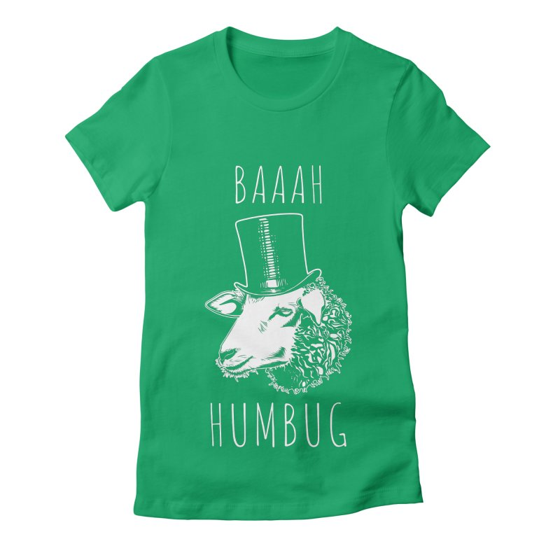 Baaah Humbug Grumpy Holiday Sheep Women's Fitted T-Shirt by Wasabi Snake