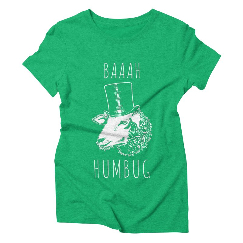 Baaah Humbug Grumpy Holiday Sheep Women's Triblend T-Shirt by Wasabi Snake