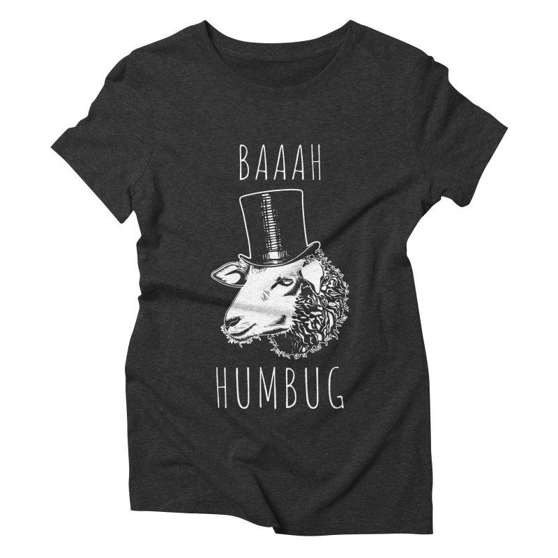 Baaah Humbug Grumpy Holiday Sheep Women's Triblend T-Shirt by Wasabi Snake