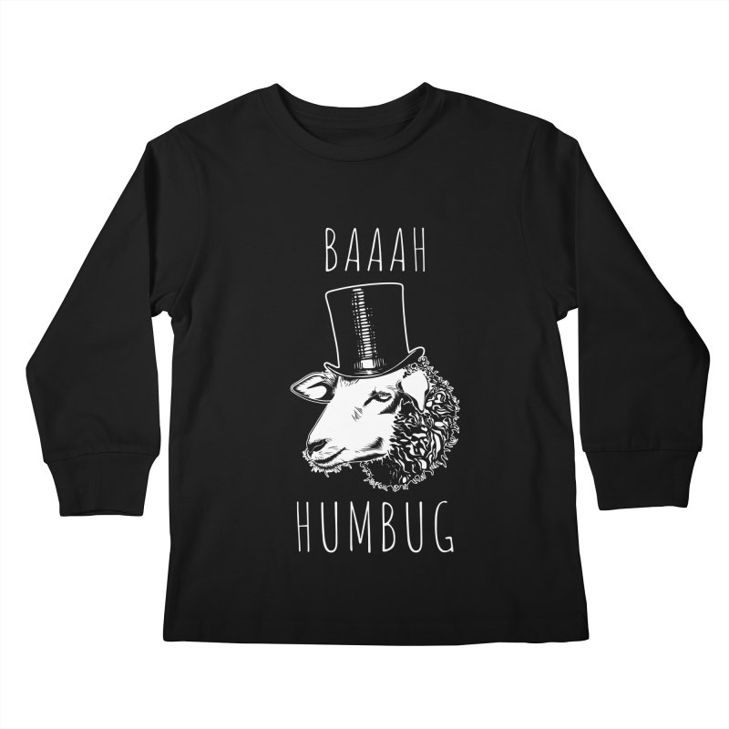 Baaah Humbug Grumpy Holiday Sheep Kids Longsleeve T-Shirt by Pete Styles' Artist Shop