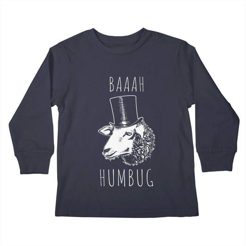 Baaah Humbug Grumpy Holiday Sheep Kids Longsleeve T-Shirt by Wasabi Snake