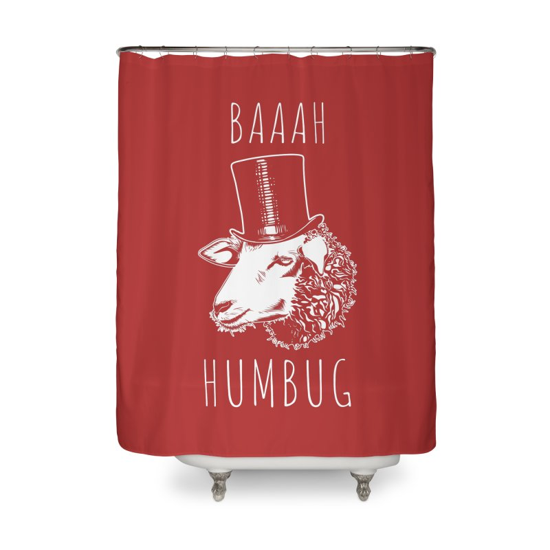 Baaah Humbug Grumpy Holiday Sheep Home Shower Curtain by Wasabi Snake