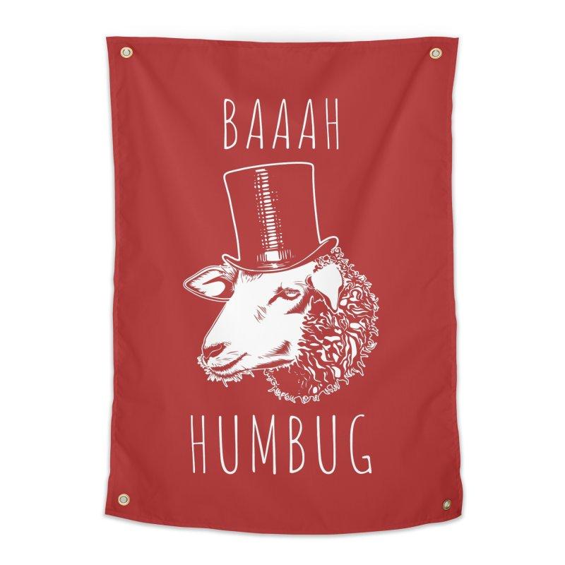 Baaah Humbug Grumpy Holiday Sheep Home Tapestry by Wasabi Snake