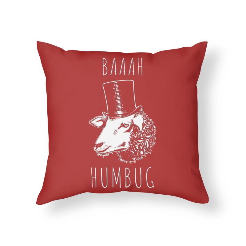 Baaah Humbug Grumpy Holiday Sheep Home Throw Pillow by Pete Styles' Artist Shop