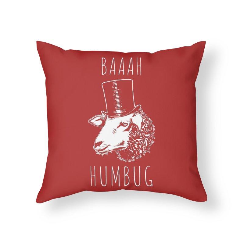 Baaah Humbug Grumpy Holiday Sheep Home Throw Pillow by Wasabi Snake