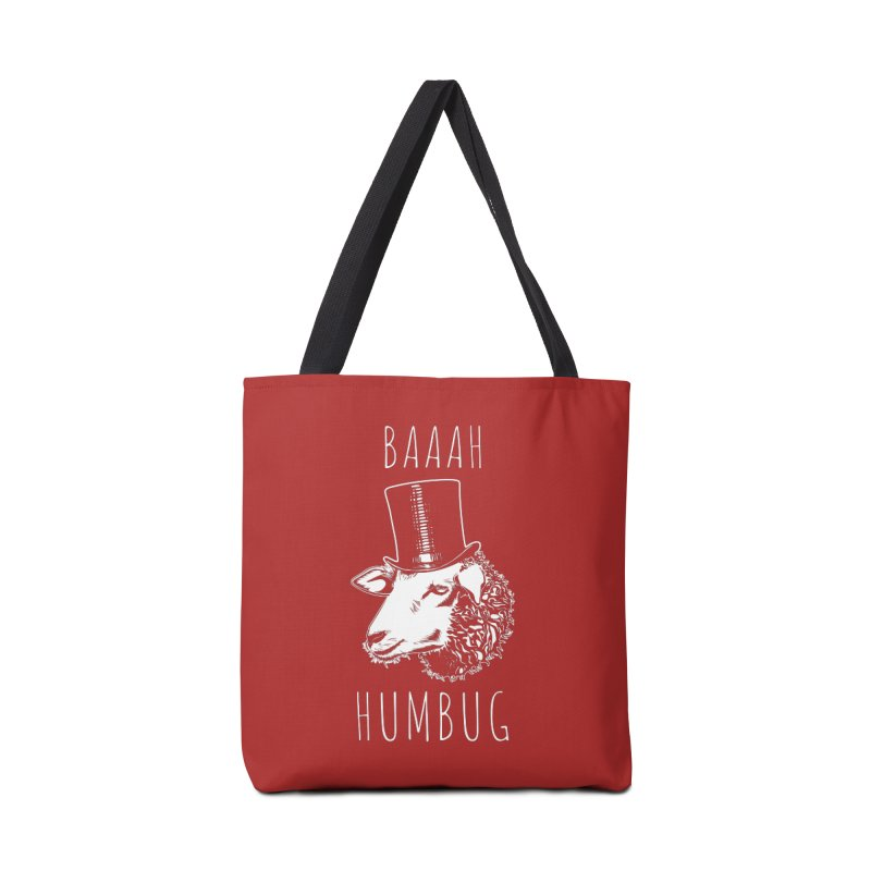 Baaah Humbug Grumpy Holiday Sheep Accessories Tote Bag Bag by Wasabi Snake