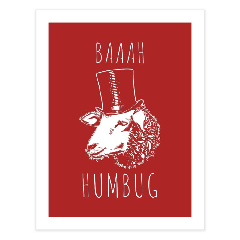 Baaah Humbug Grumpy Holiday Sheep Home Fine Art Print by Wasabi Snake