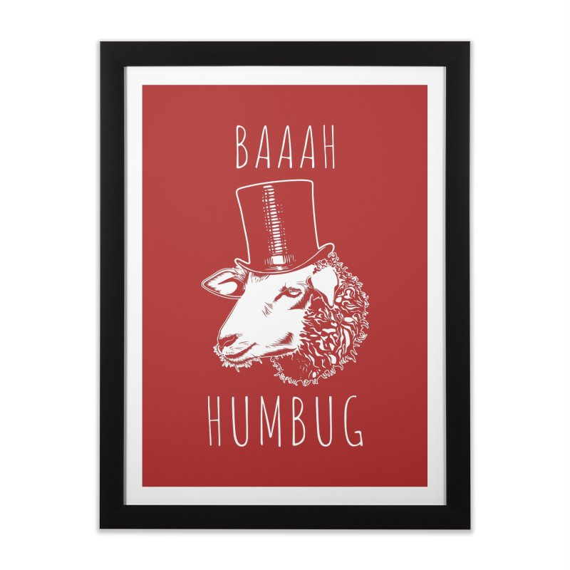 Baaah Humbug Grumpy Holiday Sheep Home Framed Fine Art Print by Pete Styles' Artist Shop