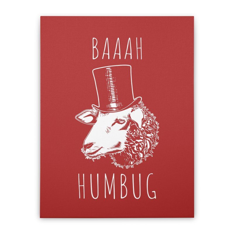 Baaah Humbug Grumpy Holiday Sheep Home Stretched Canvas by Wasabi Snake