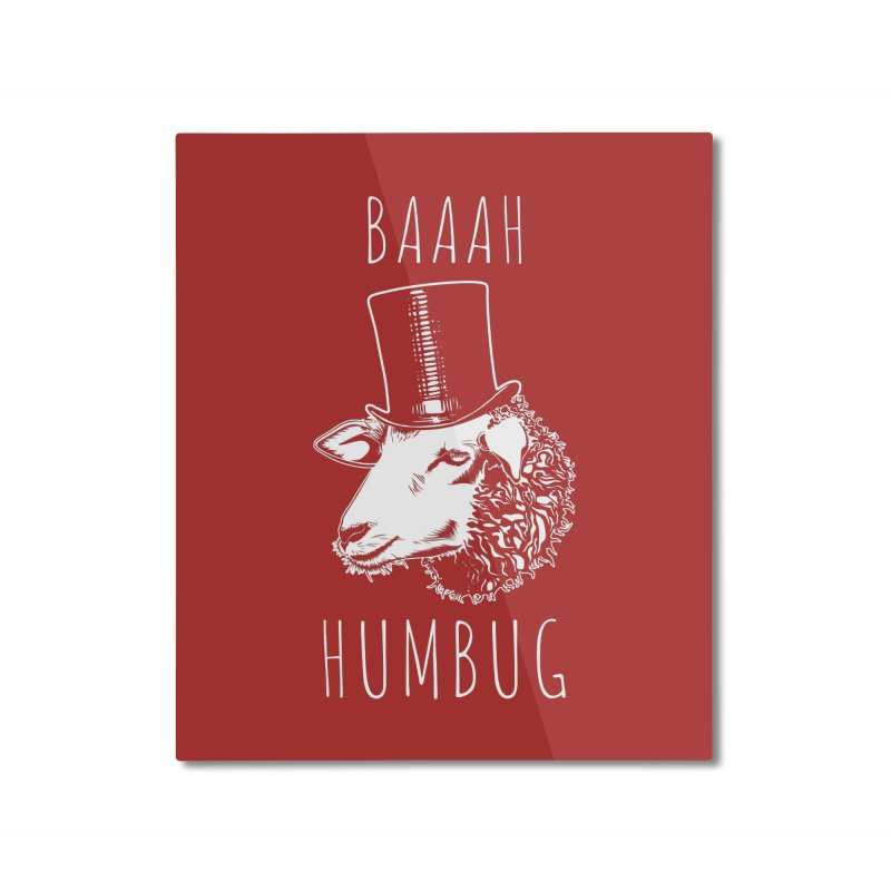 Baaah Humbug Grumpy Holiday Sheep Home Mounted Aluminum Print by Wasabi Snake