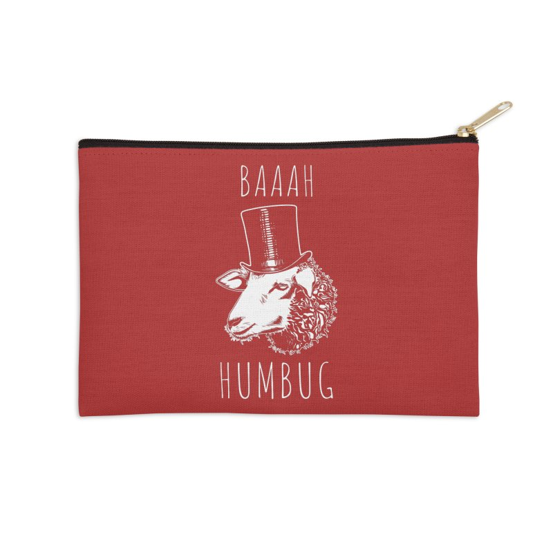 Baaah Humbug Grumpy Holiday Sheep Accessories Zip Pouch by Wasabi Snake