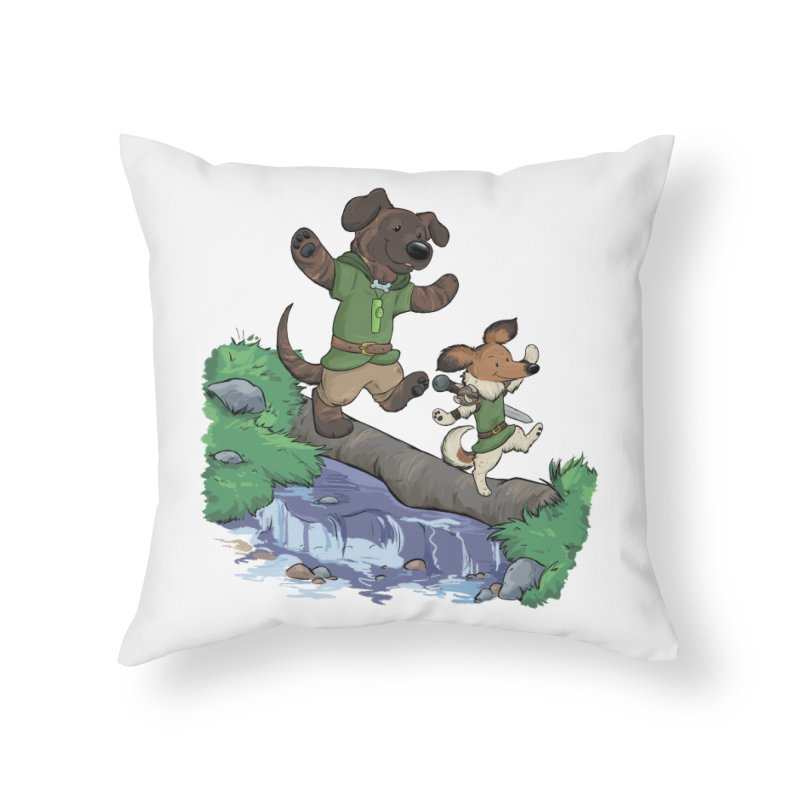 Adventure Buddies Home Throw Pillow by DnDoggos's Artist Shop