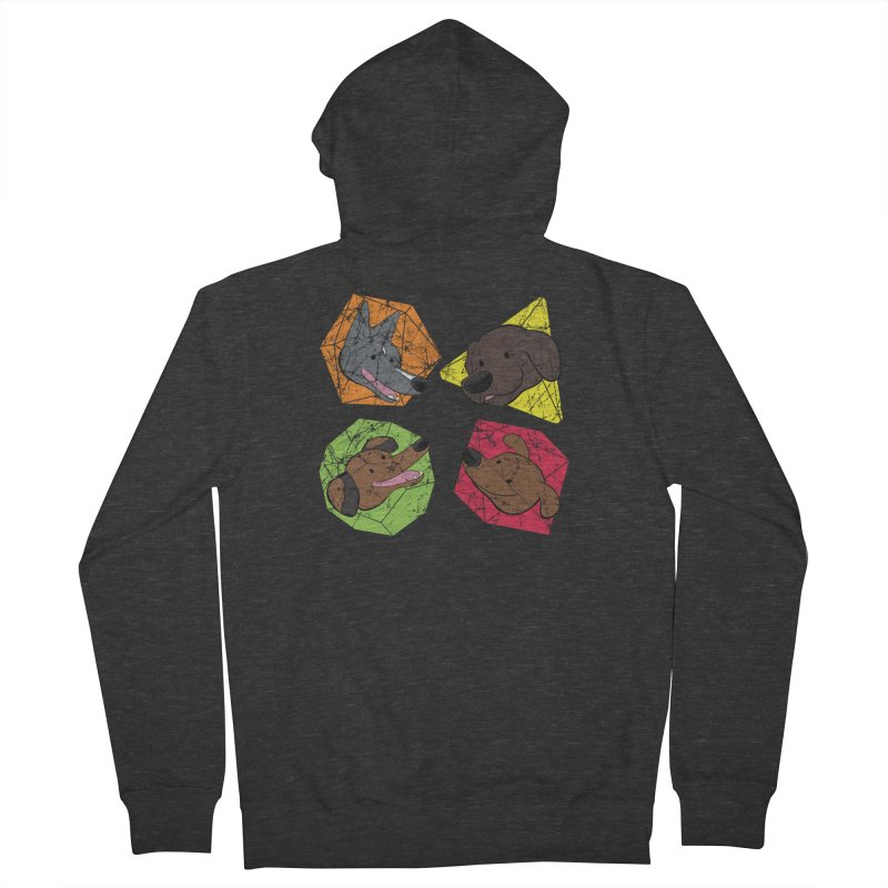 Happy Doggos and Dice Men's French Terry Zip-Up Hoody by DnDoggos's Artist Shop