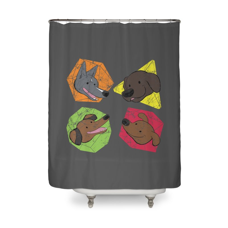 Happy Doggos and Dice Home Shower Curtain by DnDoggos's Artist Shop
