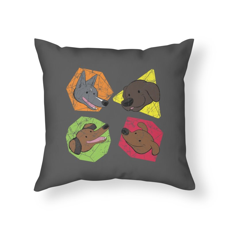 Happy Doggos and Dice Home Throw Pillow by DnDoggos's Artist Shop