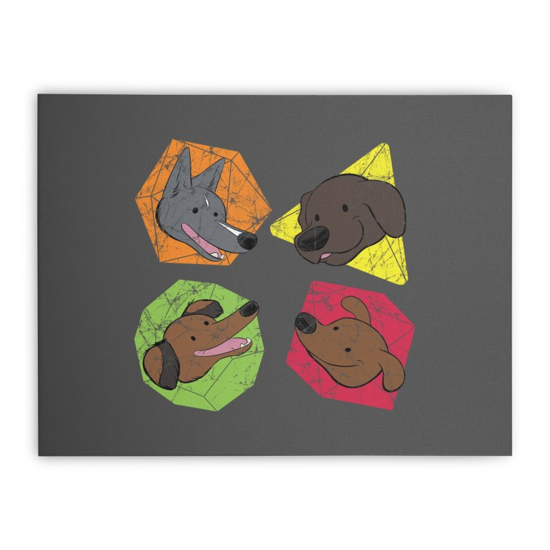Happy Doggos and Dice Home Stretched Canvas by DnDoggos's Artist Shop