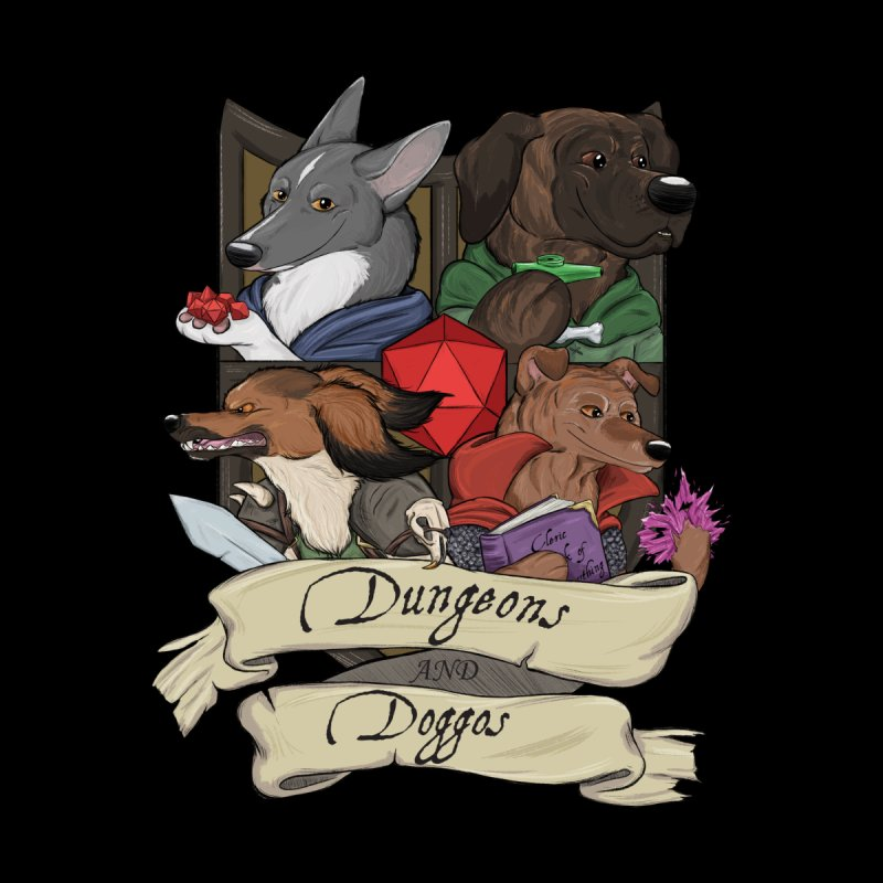 DnDoggos Emblem Full Color - Black BG Men's T-Shirt by DnDoggos's Artist Shop