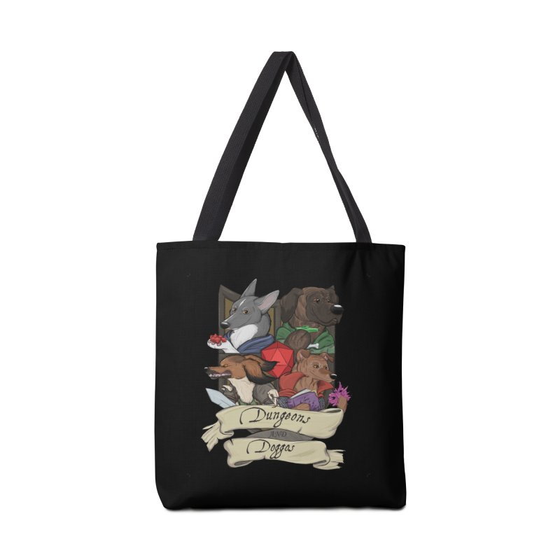 DnDoggos Emblem Full Color - Black BG Accessories Tote Bag Bag by DnDoggos's Artist Shop