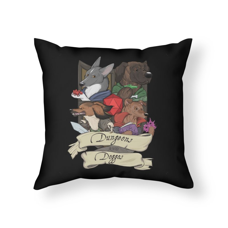 DnDoggos Emblem Full Color - Black BG Home Throw Pillow by DnDoggos's Artist Shop