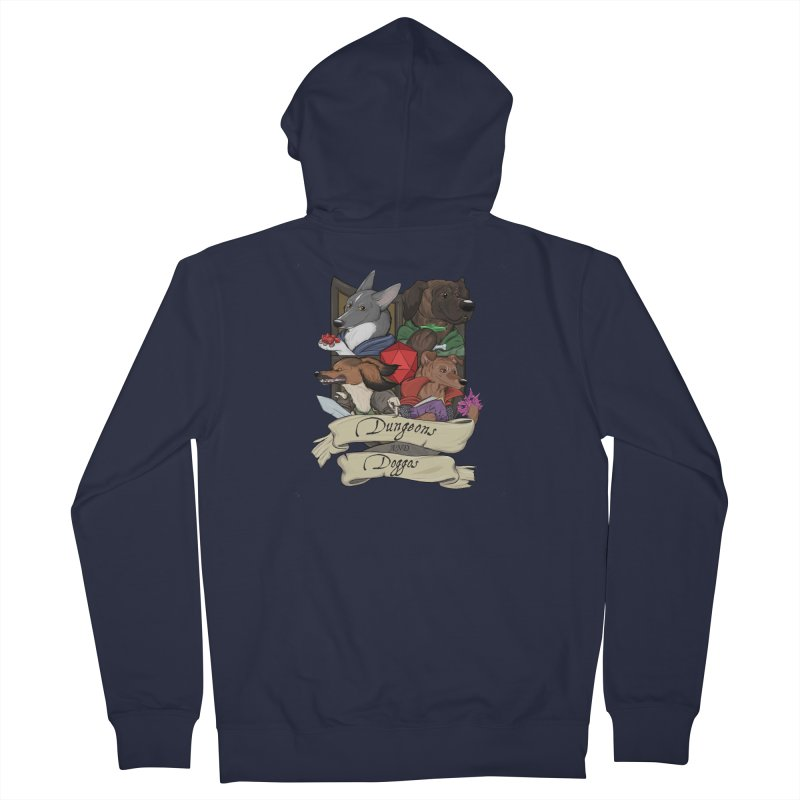 DnDoggos Emblem Full Color - Black BG Men's French Terry Zip-Up Hoody by DnDoggos's Artist Shop