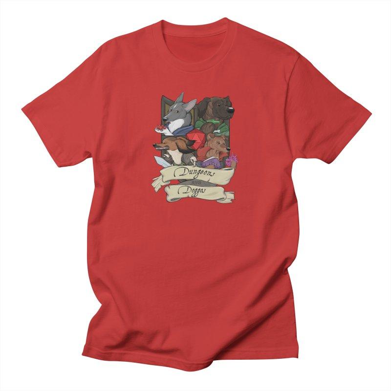 DnDoggos Emblem Full Color - Black BG Men's Regular T-Shirt by DnDoggos's Artist Shop