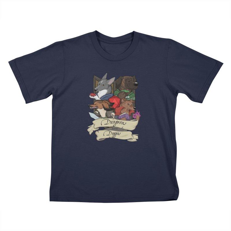 DnDoggos Emblem Full Color - Black BG Kids T-Shirt by DnDoggos's Artist Shop