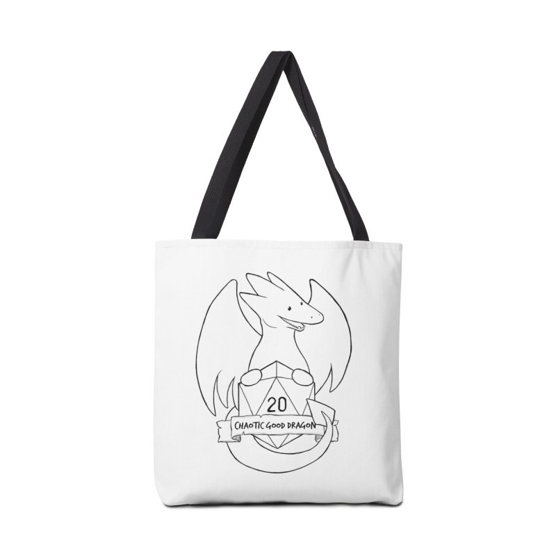 Chaotic Good Dragon Black and White Accessories Tote Bag Bag by DnDoggos's Artist Shop
