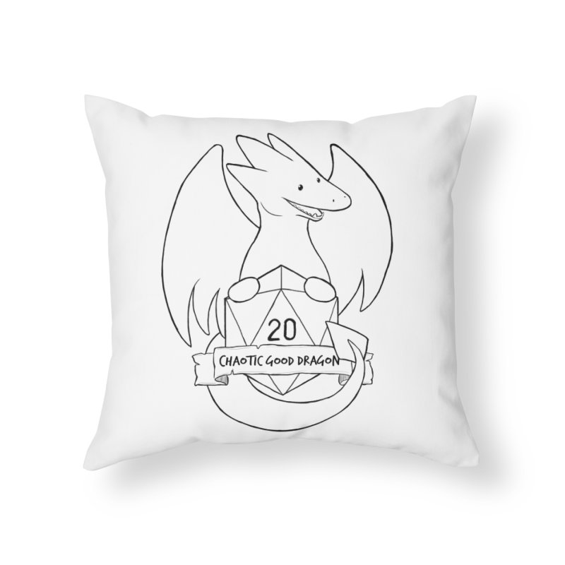 Chaotic Good Dragon Black and White Home Throw Pillow by DnDoggos's Artist Shop