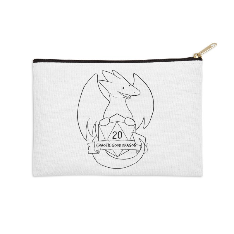 Chaotic Good Dragon Black and White Accessories Zip Pouch by DnDoggos's Artist Shop
