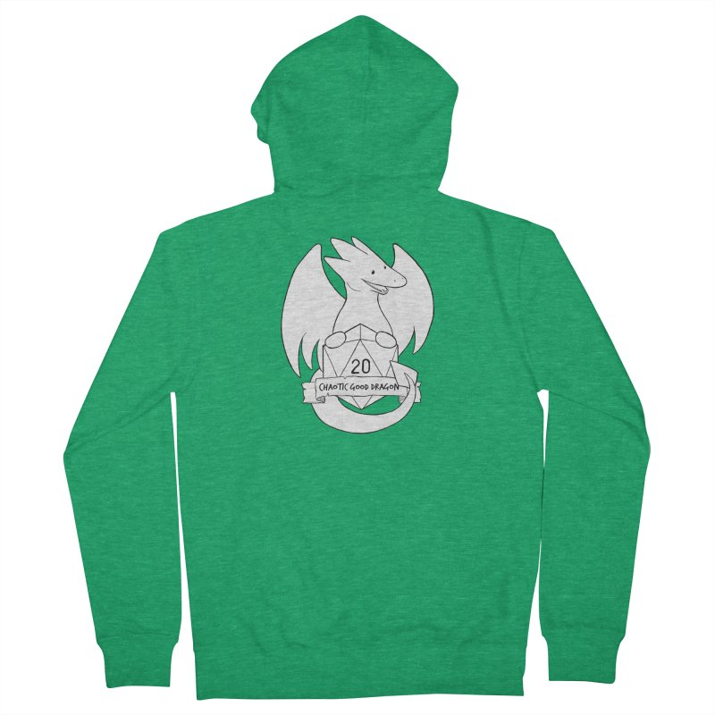 Chaotic Good Dragon Black and White Women's Zip-Up Hoody by DnDoggos's Artist Shop