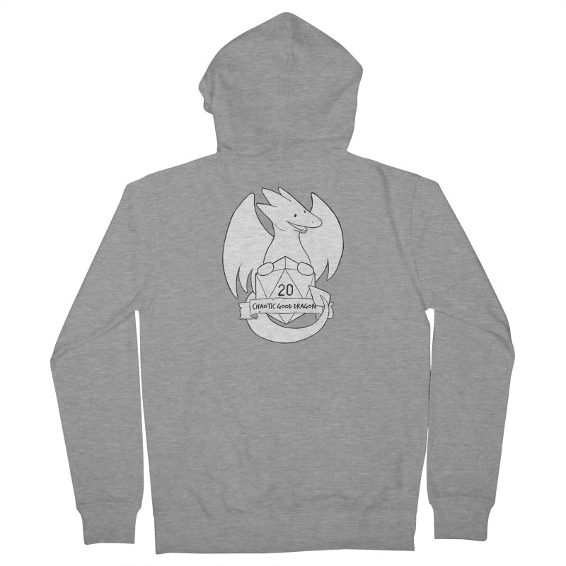 Chaotic Good Dragon Black and White Men's Zip-Up Hoody by DnDoggos's Artist Shop